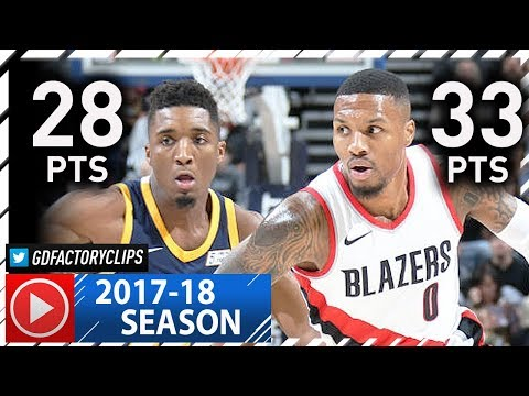 Damian Lillard vs Rookie Donovan Mitchell Duel Highlights (2017.11.01) Jazz vs Blazers - EPIC!