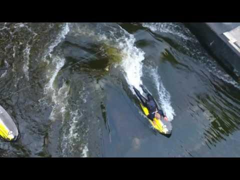 River Surfing in Prague, Czech Republic