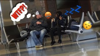 FALLING ASLEEP ON PEOPLE IN PUBLIC AT THE AIRPORT *Hilarious*