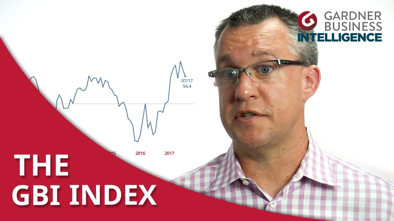 Steve Kline Jr. standing next to Gardner Business Index line chart