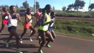 Iten 10K race; start of ladies until 19th minute