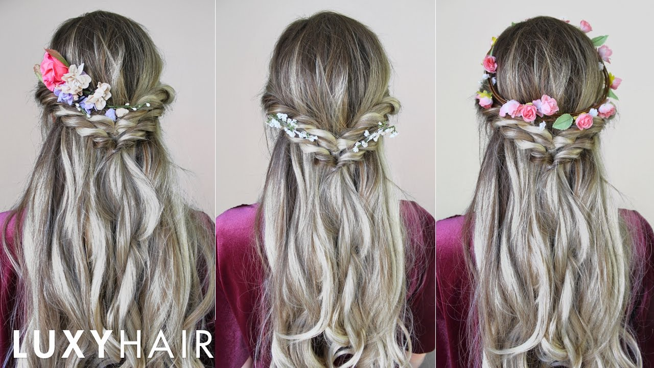 easy & quick hairstyle with flowers (perfect for spring & summer) | luxy hair