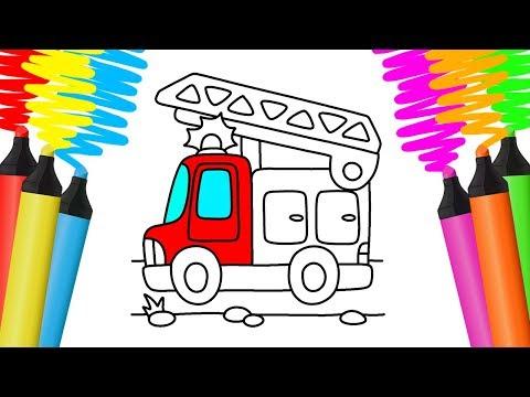 Como Desenhar e Colorir CAMINHÃO DE BOMBEIROS – Pintar e Aprender para Crianças