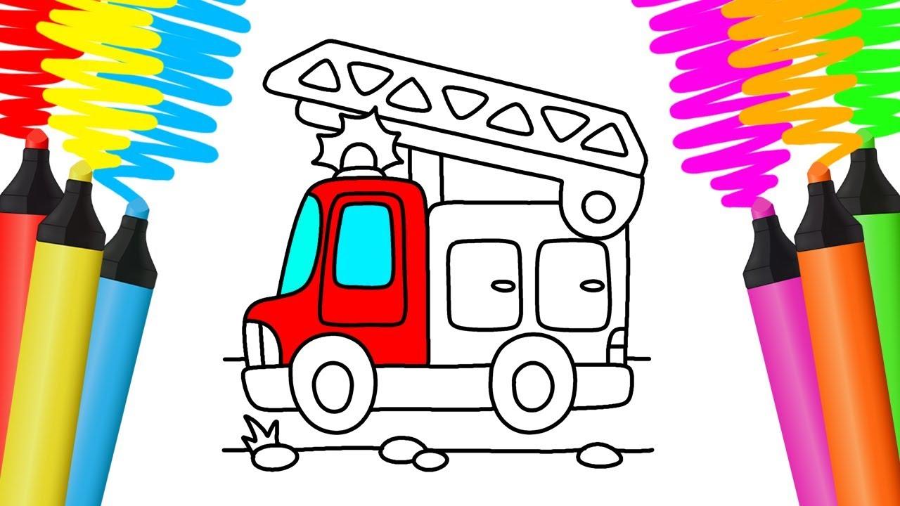 Como Desenhar E Colorir Caminhao De Bombeiros Pintar E Aprender