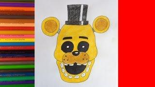 - How to draw Golden Freddy, FNAF, Как нарисовать Голден Фредди