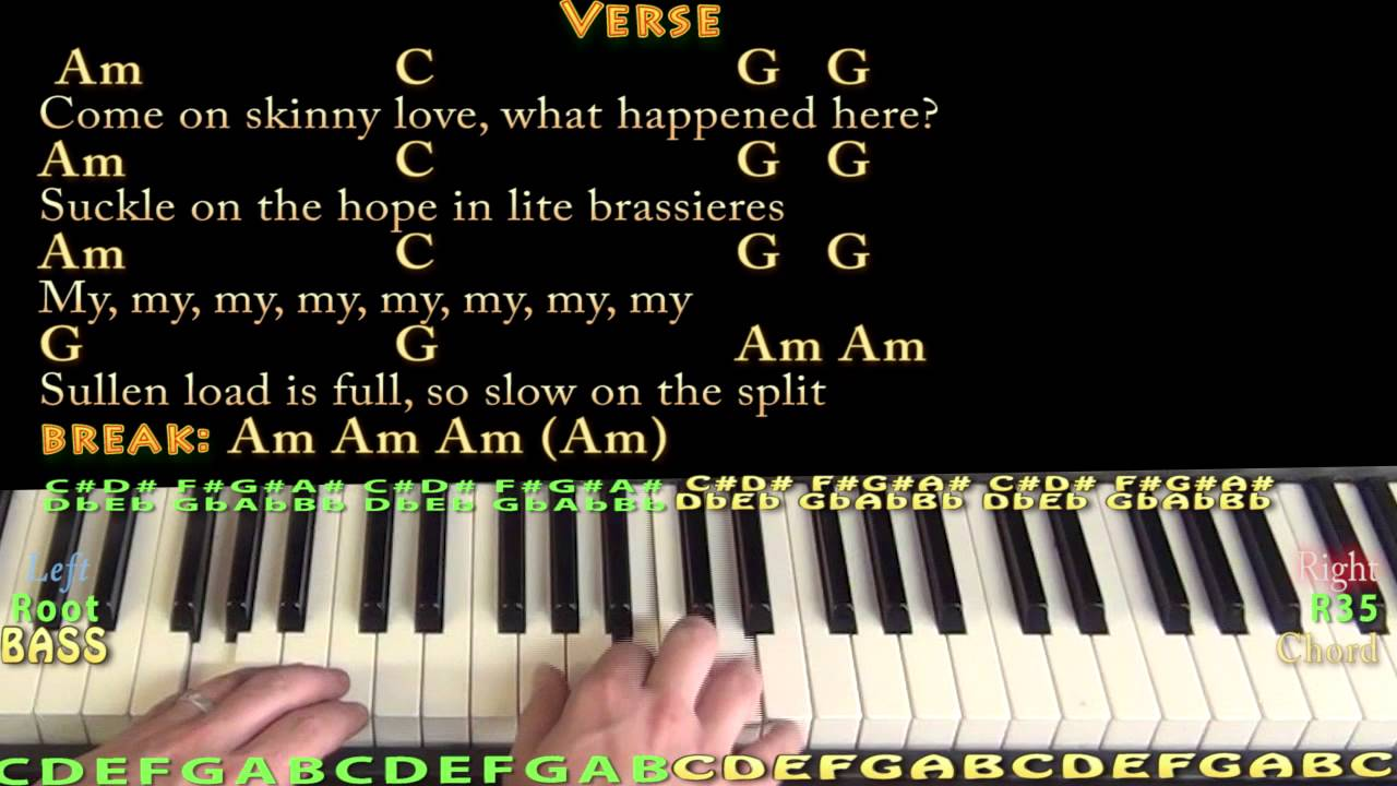 Skinny Love Bon Ivers Piano Cover Lesson With Chordslyrics Youtube