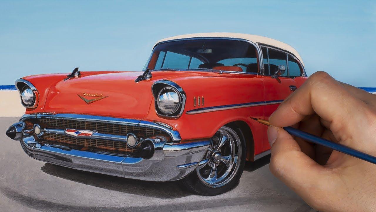 [그림]Classic car with watercolor paint - 1957 Chevy bel air. 올드카 그리기.