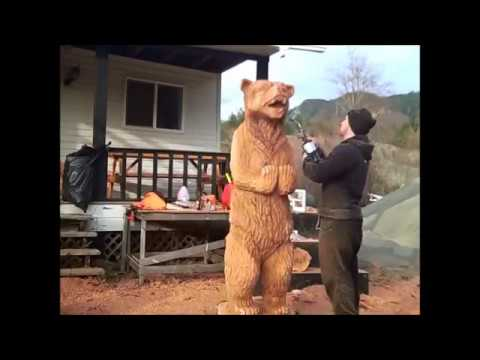 Chainsaw Carving of Grizzly Bear Club Chaos