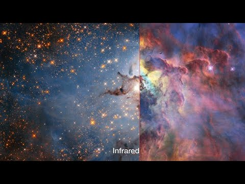 Lagoon Nebula in visible and infrared light