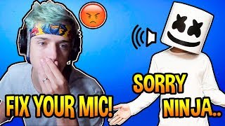 "Ninja YELLS At Marshmello For ""LOUD Background"" Noises! *TRIGGERED* Fortnite EPIC & FUNNY Moments"