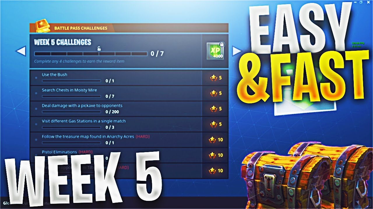 Fortnite How To Complete All Week 5 Challenges Super Fast Easy