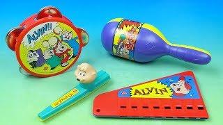 1994 Dairy Queen Alvin y las Ardillas Creadores de Música set de 4 niños comida juguetes Revisión de Vídeo