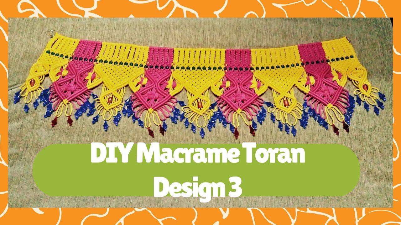DIY Macrame Toran Tutorial Design 3 | Macrame Art - YouTube
