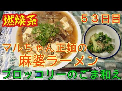 【燃焼系】マルちゃん正麺の麻婆ラーメン&ごま和え【53日目】