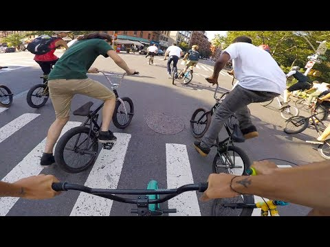 BMX BIKE RIDERS RACE THROUGHOUT MANHATTAN  FOR CASH!