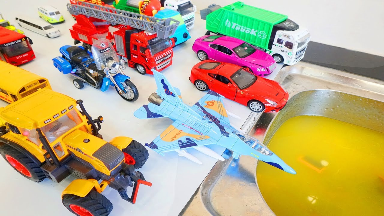 Learn Colors   Toy Cars Wash Crane Truck Tractor Plane Police Cars for Kids   Nursery Rhymes Song