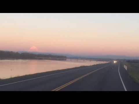 Sunset view of Mt. Hood, Columbia River, and Marine Drive: Portland, Oregon