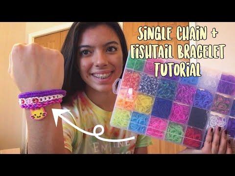 Rainbow Loom Single Chain & Fishtail Bracelet Tutorial (Parhlen Band Kit) || Emiline's Loomtique