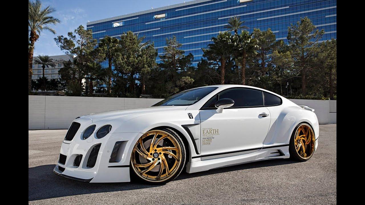 Bentley GT Satin White Wrap On 24k Gold Lexani Wheels