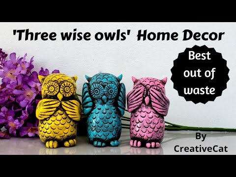 Owl Home decor/Best out of waste/upcycling/art and craft/ Clay owl