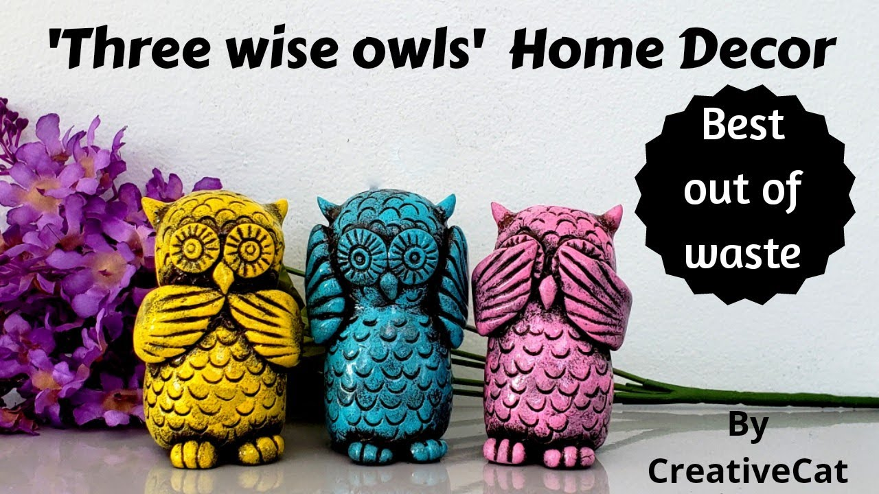 Owl Home Decor Best Out Of Waste Upcycling Art And Craft Clay Owl