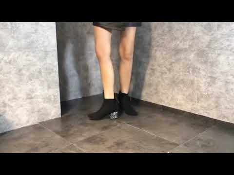 스웨이드 부츠 두꺼운 신발 여성 여성 신발 장식 조각 부츠 여성 겨울 스트레치 얇은 부츠