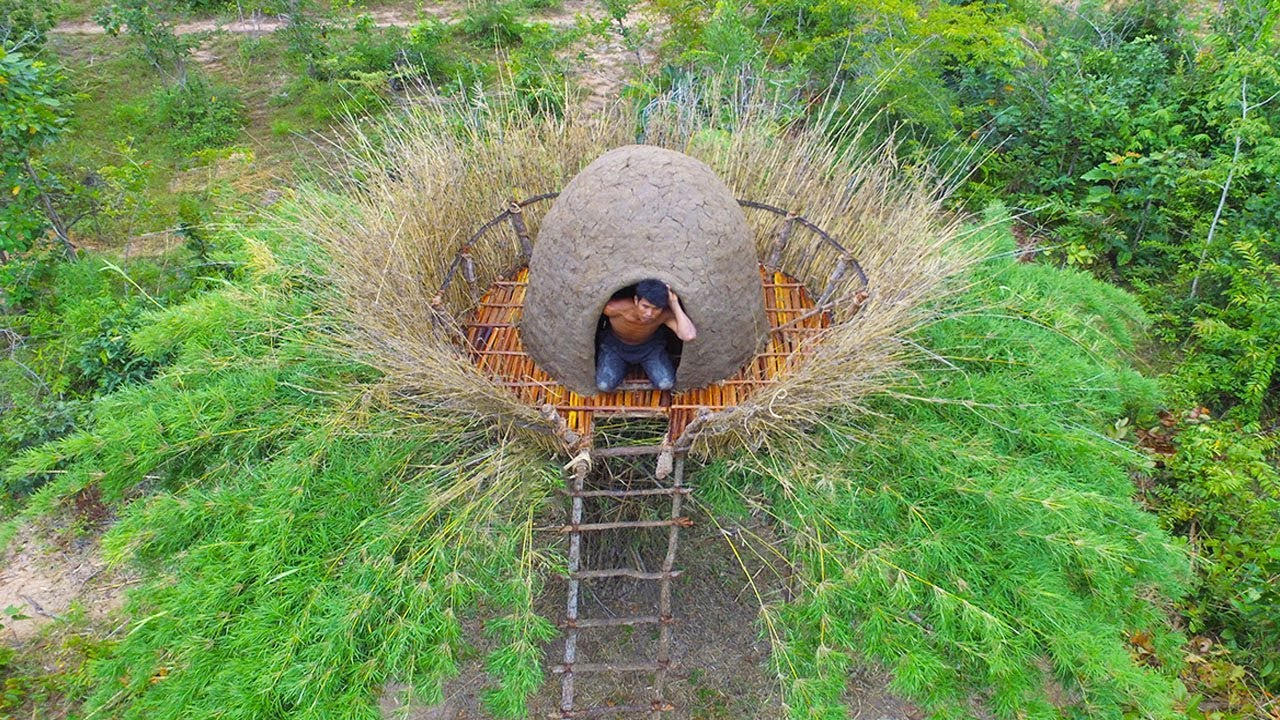 Building Mood Roof For Beautiful Biggest Bird Nest House