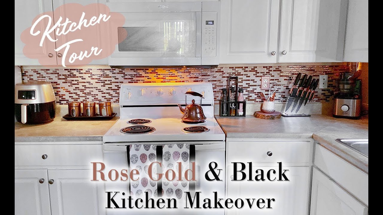 Rose Gold Black Kitchen Makeover 2020 Renter Friendly Backsplash Mooregirl Youtube