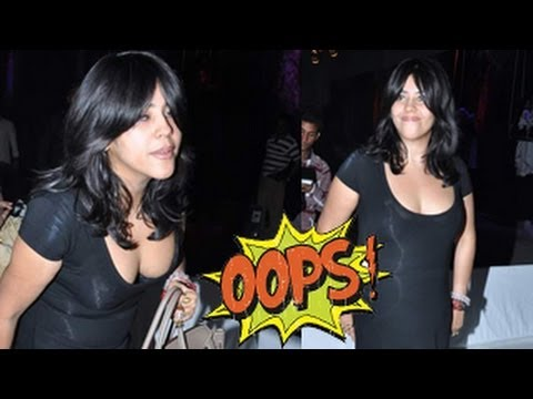 Ekta Kapoor FLAUNTS HER CLEAVAGE in WARDROBE MALFUNCTION at an EVENT - DON'T MISS !!!