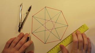 Геометрия - Построение семиугольника и звезды(Приблизительное построение правильного семиугольника и звезды с помощью циркуля и линейки., 2015-07-15T05:59:46.000Z)