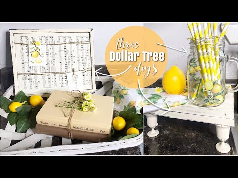 🍋THREE DOLLAR TREE LEMON DECOR DIYS // Farmhouse Mini Stool, Message Board, Lemon Mason Jar!🍋
