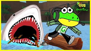 Roblox Mini Games Run from GIANT SHARK Let's Play with Gus the Gummy Gator