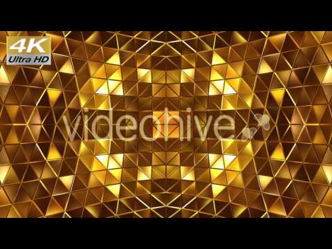 4k 3d Gold Abstract Stage VJ Loop Background Footage