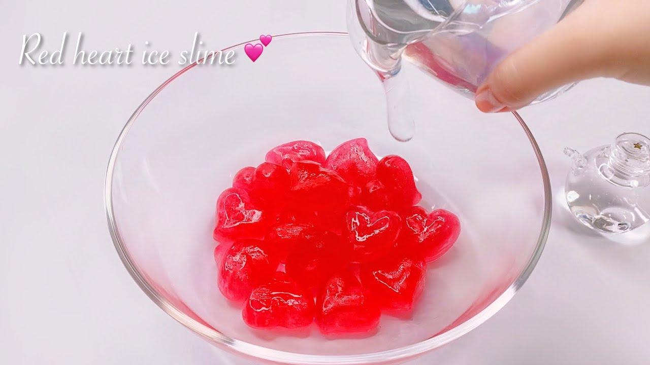 【ASMR】❤️ハート形の氷スライム↪︎プレススライム🧊【作り方】Red heart ice slime