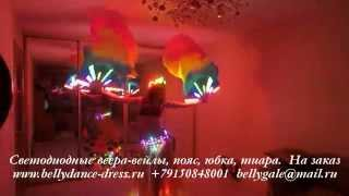 Светодиодные веера-вейлы, пояс, юбка, тиара.  На заказ www.bellydance-dress.ru  +79150848001  bellyg