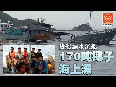 货船漏水沉船 170吨椰子海上漂