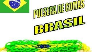 COMO HACER PULSERA DE GOMAS COLORES BANDERA BRASIL.HOW TO MAKE RUBBER BRACELET BRAZIL FLAG.