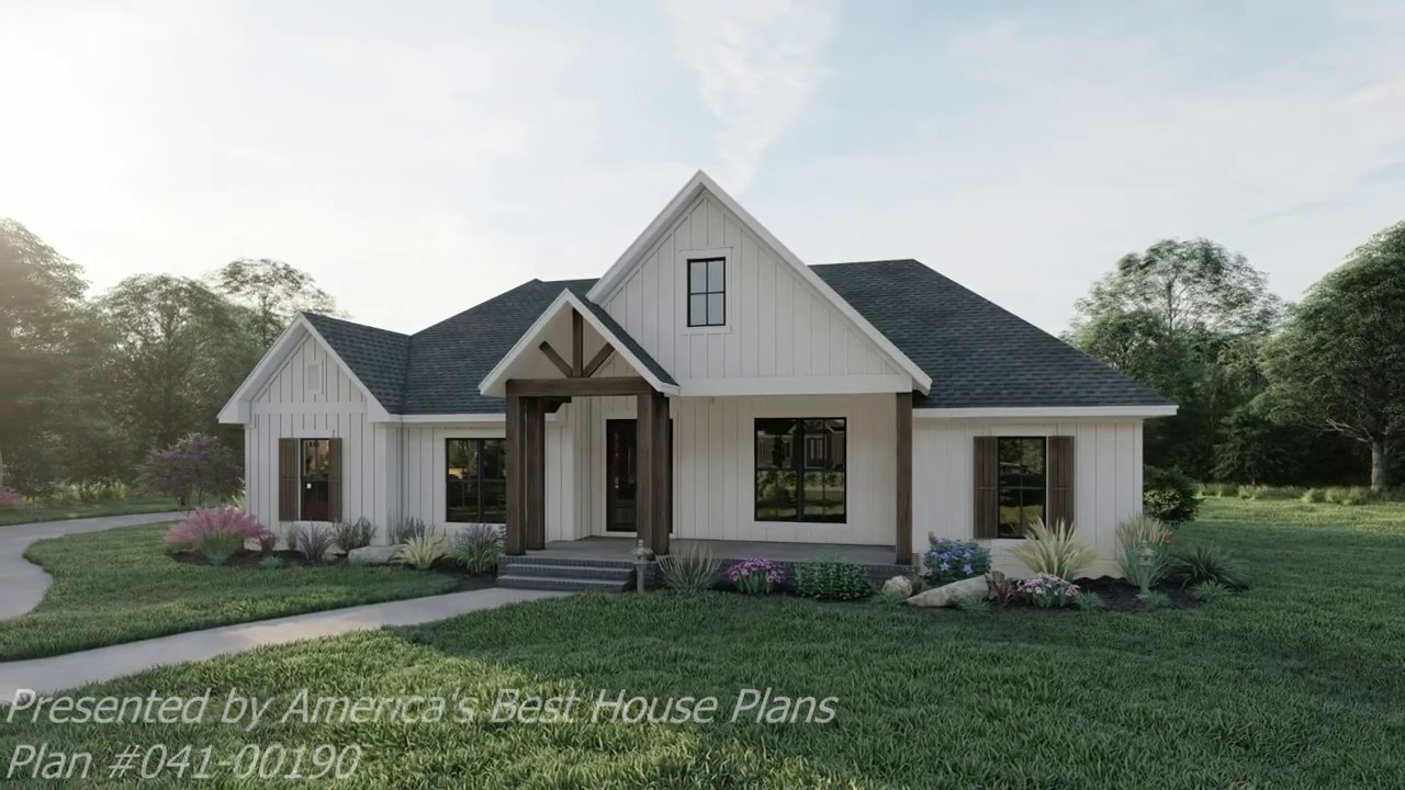 MODERN FARMHOUSE PLAN 041-00190 WITH INTERIOR - YouTube