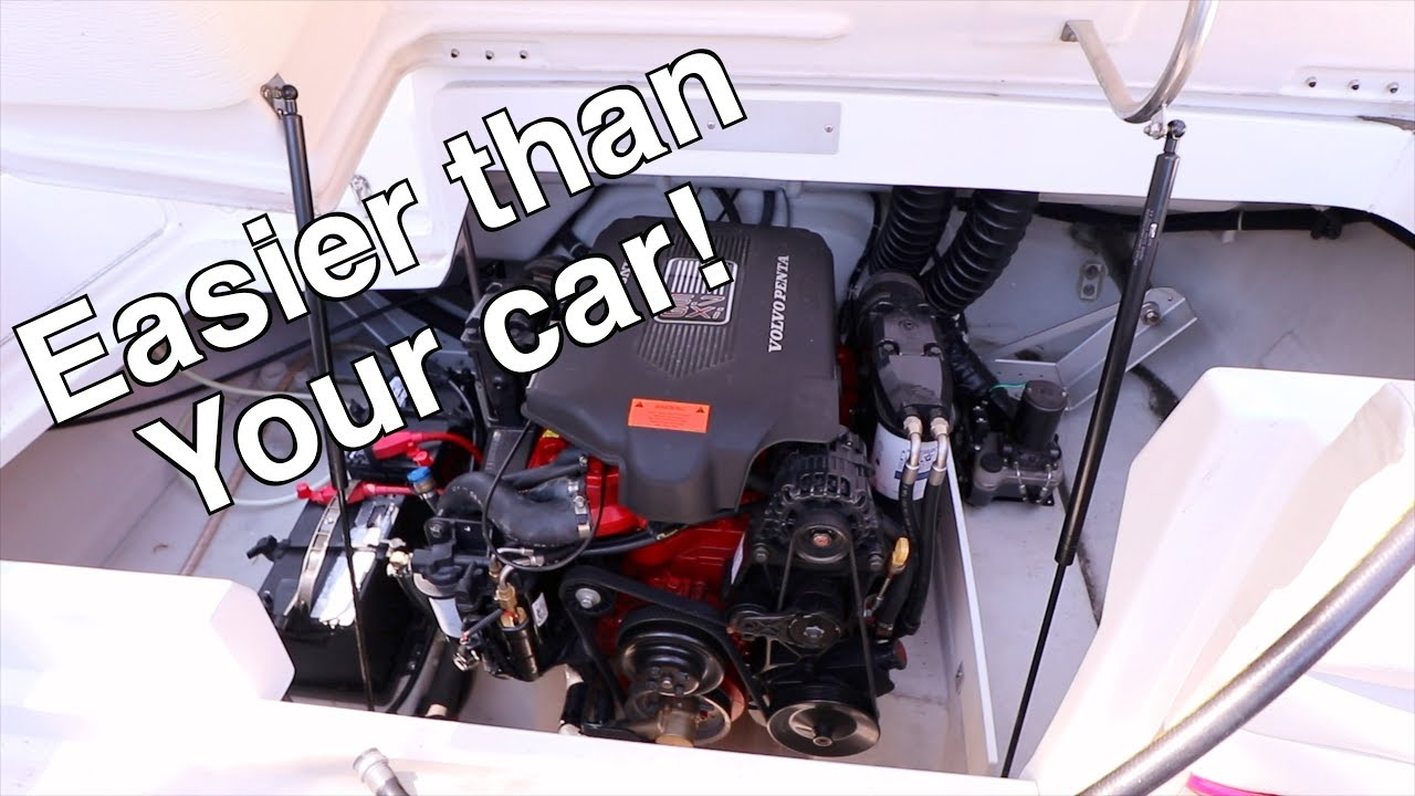 Inboard Boat Engine Oil Change Volvo Penta 5 7 Youtube