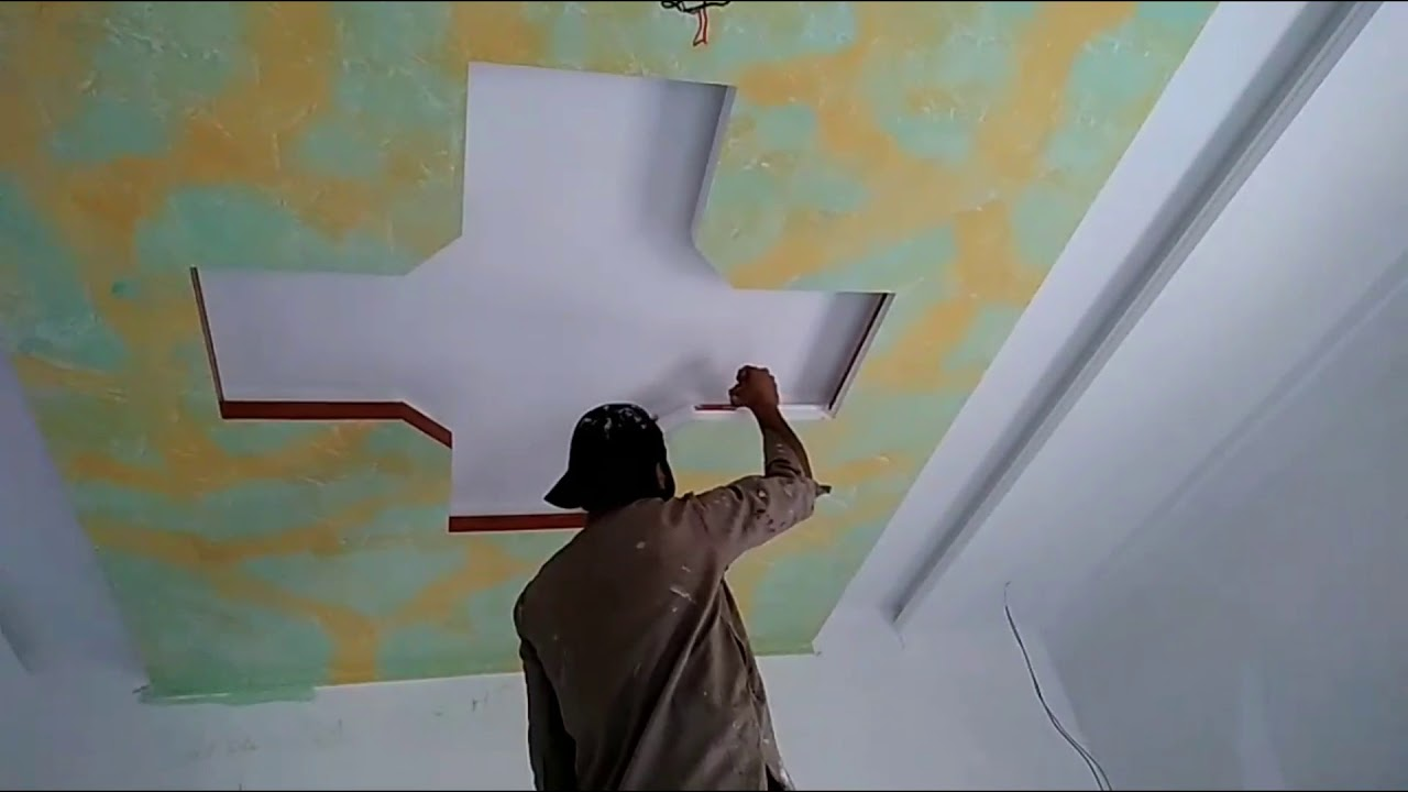 How To Paint Design On Ceiling 2019 Pakistan Design Youtube