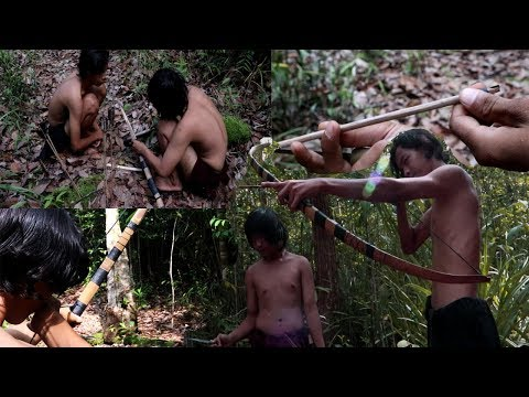 Primitive Technology : Making Bow and Arrow From Bamboo