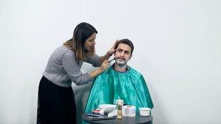 Amını tıraş eden kadın