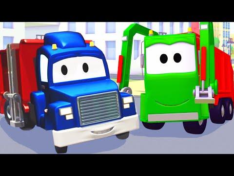 Carl Transforms e Caminhão do lixo na Cidade do Carro  Desenho animado para crianças