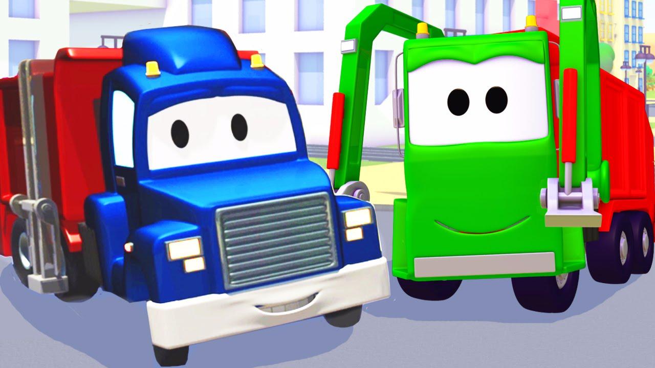 carl transforms e caminhão do lixo na cidade do carro desenho