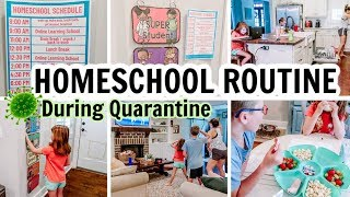 HOMESCHOOL ROUTINE DURING QUARANTINE | STAY AT HOME MOM SCHEDULE | Amy Darley