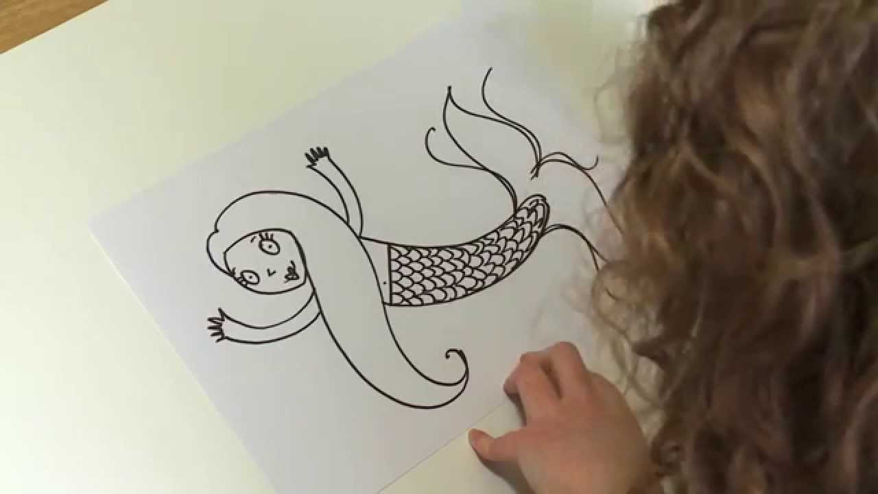 how to draw a mermaid video