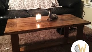 A simple coffee table constructed using pocket hole joinery, 2x4