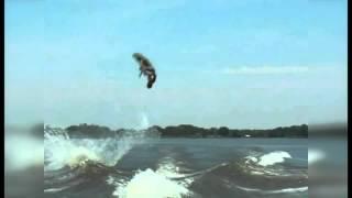 Triple front flip on a wakeboard attempted behind Malibu Wakesetter Darin Shapiro