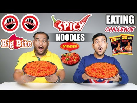 NO HANDS BIG BITE SPICY MAGGI NOODLES EATING CHALLENGE | Spicy Noodles Eating Competition
