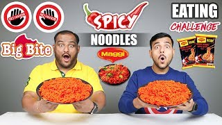 NO HANDS BIG BITE SPICY MAGGI NOODLES EATING CHALLENGE   Spicy Noodles Eating Competition